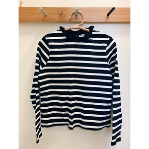 Asos striped ruffle collar ribbed knit top, 12
